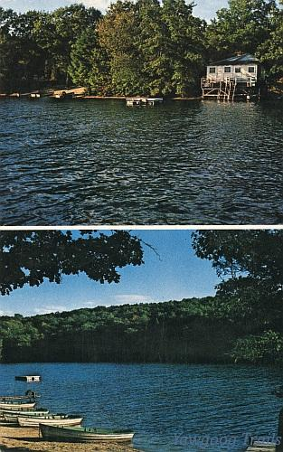 Color postcard with 2 views.  Top: Sauna building on forested shore and beach.  Bottom: View of beach with rowboats on shore.