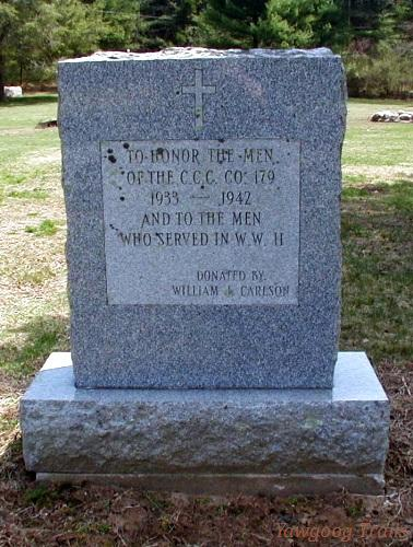 Stone monument with inscription: To Honor The Men OF C.C.C. Co. 179, 1933 - 1942, And To The Men Who Served In W.W. II, Donated By William I. Carlson