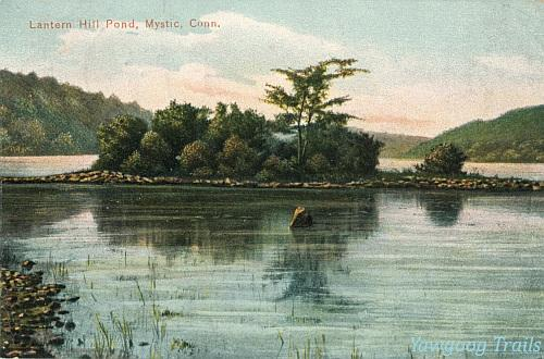 Color lithographed postcard of island in pond.