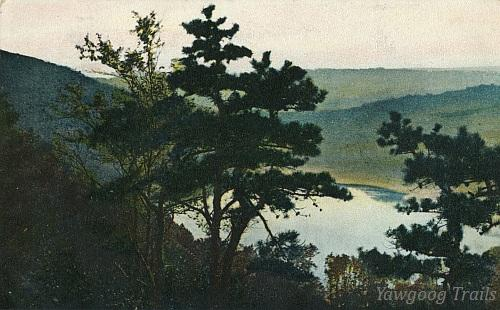 Color lithographed postcard of Lantern Hill Pond, with red pines in foreground.  The flanks of the hill are to the left.