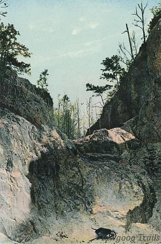 Color lithographed postcard of white rock quarry.