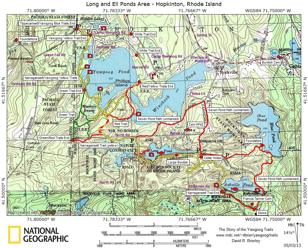 Trail Maps - Story of the Yawgoog Trails